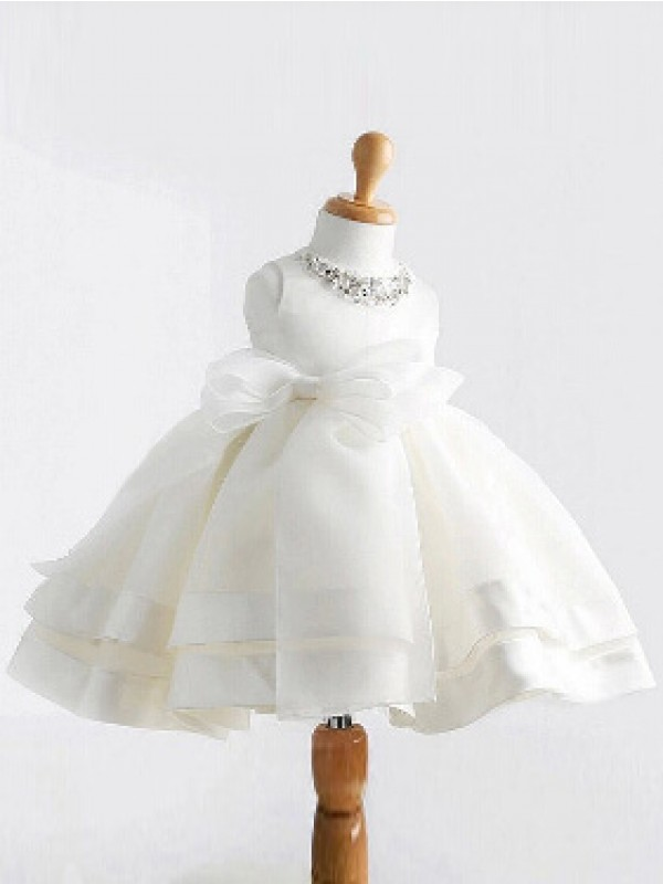 Ball Gown Satin Jewel Sleeveless Tea-Length With Bowknot Flower Girl Dresses