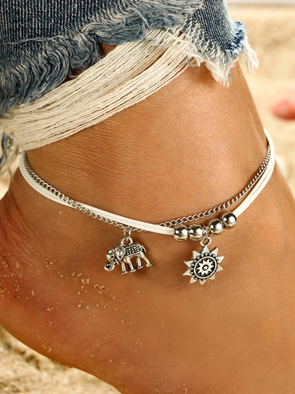 Lovely Elephant Sun Alloy Anklets
