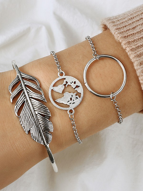 Awesome Alloy With Leaf Bracelets(3 Pieces)
