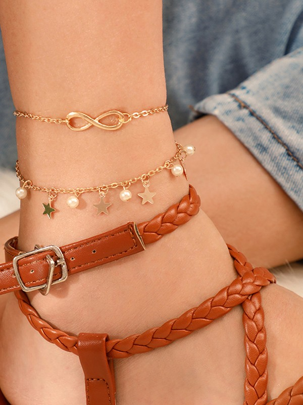 Double Star Sequined Pearl Bracelets/Anklets