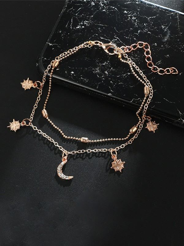 Charming Alloy With Star/Moon Anklets(2 Pieces)