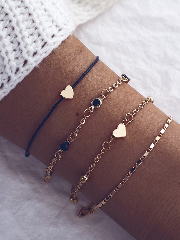 Geometric Peach Heart Metal Bracelets/Anklets(4 pieces)