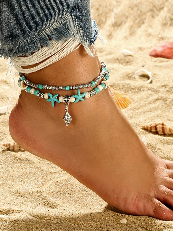 Graceful Starfish Alloy Anklets