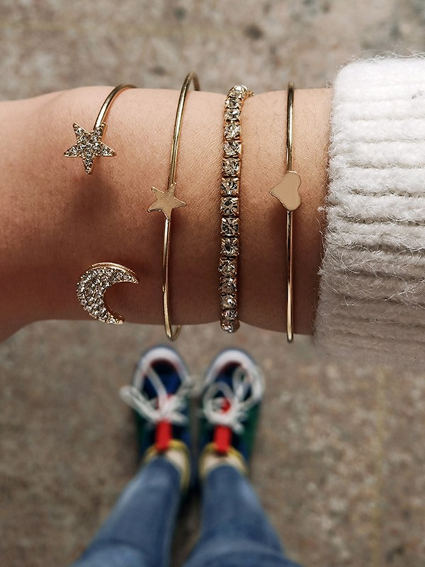 Trending Alloy With Stars And Moon Hot Sale Bracelets(4 Pieces)