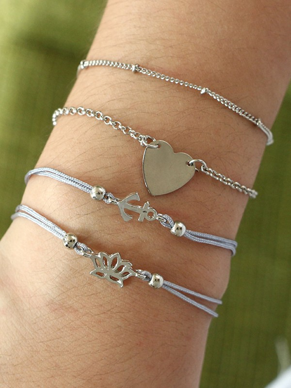 Stylish Alloy With Heart Bracelets(4 Pieces)