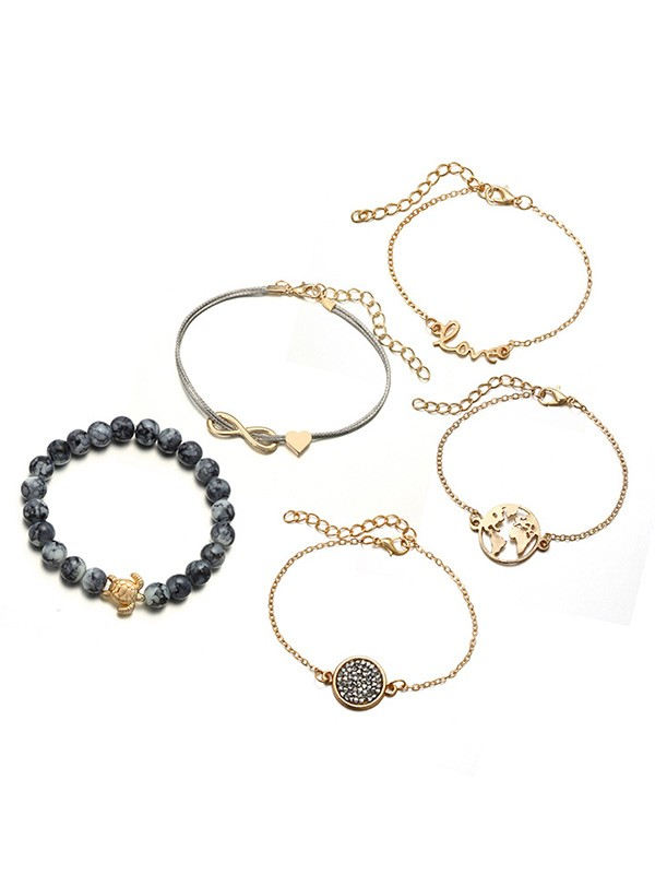 Gorgeous Alloy With Bowknot/Tortoise Hot Sale Bracelets(5 Pieces)
