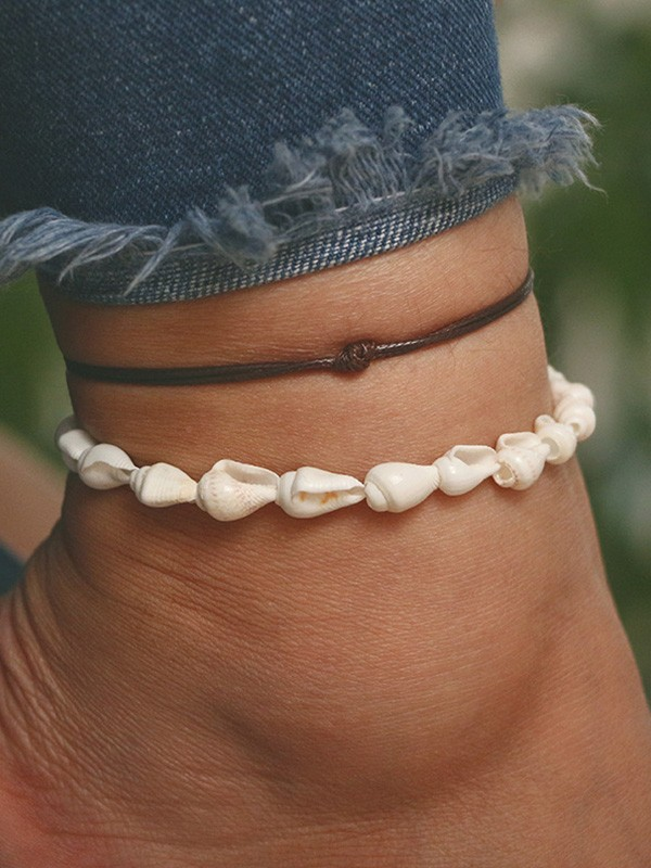 Brilliant Alloy With Shell Anklets(2 Pieces)