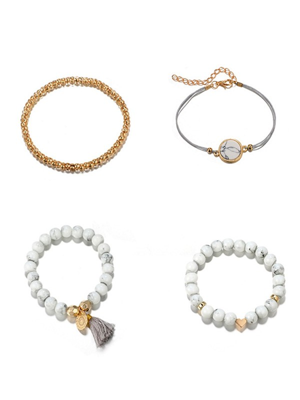 Attractive Alloy With Flower/Love Hot Sale Bracelets(4 Pieces)