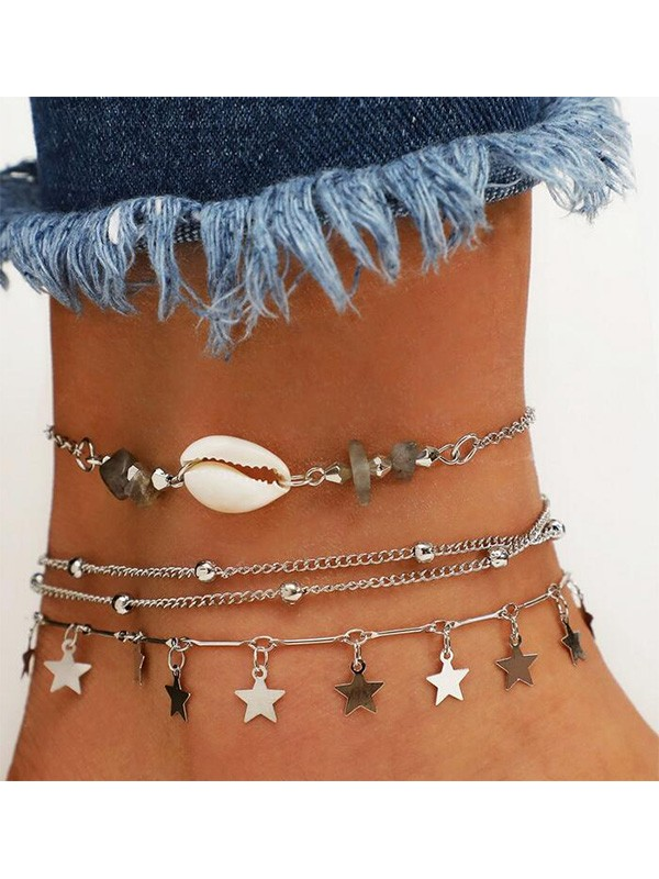 Stunning Alloy With Shell/Star Anklets(3 Pieces)