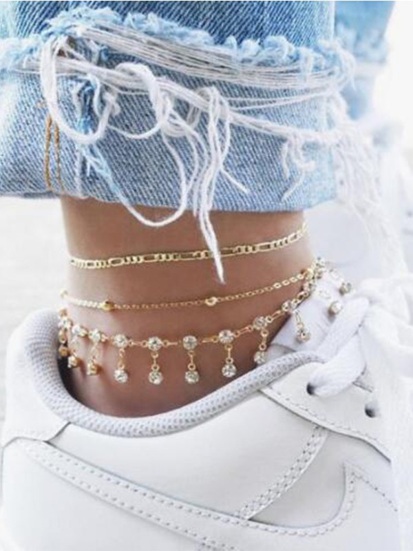 Fashion Tassel Rhinestone Alloy Round Anklets(3 pieces)