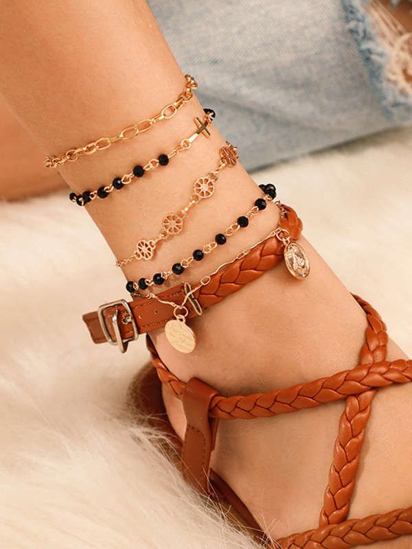 Pretty Alloy With Beads Bracelets(4 Pieces)