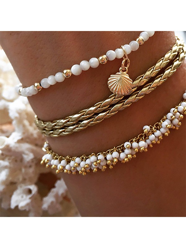 Exquisite Alloy With Shell Anklets(3 Pieces)